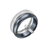 Серебряное кольцо с керамикой и фианитами СЫ01СР2068б-130