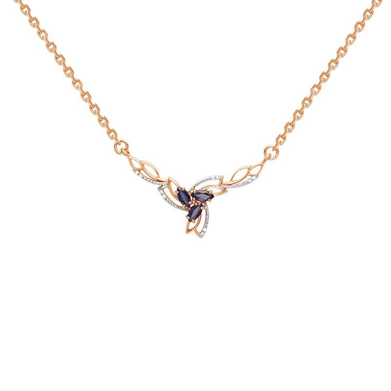 Золотое колье с бриллиантами и сапфирами ЛХ06-00028-01-009-01-01
