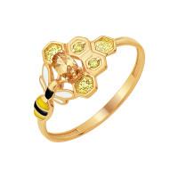 Золотое кольцо с эмалью и фианитами ЮПК10911220