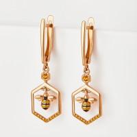 Золотые серьги подвесные с эмалью и фианитами