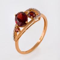 Золотое кольцо с гранатами и фианитами НЮ09418701010050416