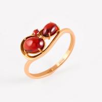 Золотое кольцо с гранатами и фианитами НЮ09419501010000454