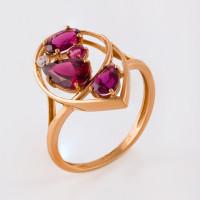 Золотое кольцо с родолитами и фианитами НЮ09418501010050433