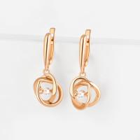 Золотые серьги подвесные с фианитами НЮ105000292510-1 женские