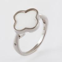 Серебряное кольцо с керамикой и фианитами РОТЦ-Р01073-В-В-Х-Х-В