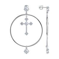 Серебряные серьги гвоздики с фианитами ДИ94023663