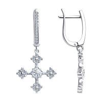 Серебряные серьги подвесные с фианитами ДИ94023661