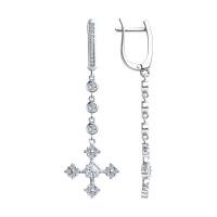 Серебряные серьги подвесные с фианитами ДИ94023664