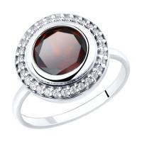 Серебряное кольцо с гранатами и фианитами ДИ92011853