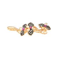 Золотая брошь с бриллиантами и рубинами