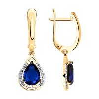 Золотые серьги подвесные с бриллиантами и корундами сапфирами ДИ6022154