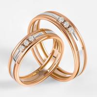 Золотое кольцо обручальное с бриллиантами ЛХ07-00076