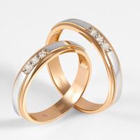 Золотое кольцо обручальное с бриллиантами ЛХ07-00073