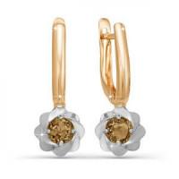 Золотые серьги подвесные с раухтопазами
