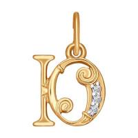 Золотая подвеска Буква Ю с фианитами ДИ033835