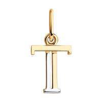 Золотая подвеска Буква Т ДИ035566