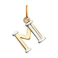 Золотая подвеска Буква М ДИ035562