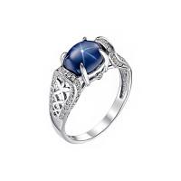 Золотое кольцо с бриллиантами и сапфиром ИМК0245-226