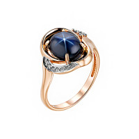 Золотое кольцо с бриллиантами и сапфиром ИМК0547-126