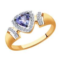Золотое кольцо с танзанитом и бриллиантами ДИ6014117