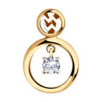 Золотой знак зодиака «водолей» с фианитами ДИ035872