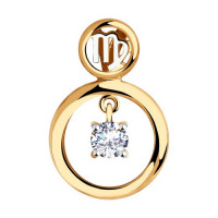 Золотой знак зодиака «дева» с фианитами