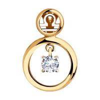 Золотой знак зодиака «весы» с фианитами ДИ035868