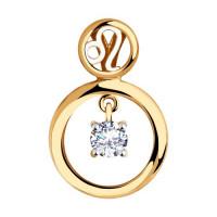 Золотой знак зодиака «лев» с фианитами ДИ035866