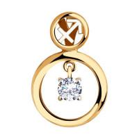 Золотой знак зодиака «стрелец» с фианитами ДИ035870