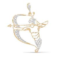 Золотой знак зодиака «стрелец» с фианитами ДП030428