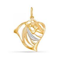 Золотой знак зодиака с фианитами «водолей»