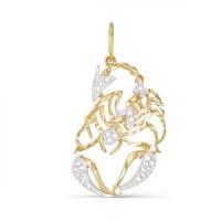 Золотой знак зодиака с фианитами «скорпион» ДП030484