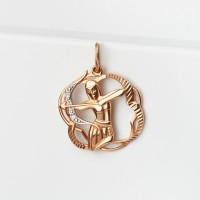 Золотой знак зодиака «стрелец» с фианитами ДП030422