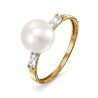 Золотое кольцо с жемчугом и фианитами ДП113912