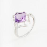 Серебряное кольцо с аметистами и фианитами 3ВК620-075АМ