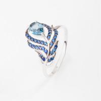 Серебряное кольцо с топазами и фианитами 3ВК624-015М1
