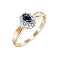 Золотое кольцо с бриллиантами и сапфиром ЮЗ1-11-0784-110сп