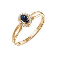 Золотое кольцо с сапфиром и бриллиантами ЮЗ1-11-0769-110сп