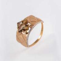 Золотое кольцо с фианитами и раухтопазами ДП311455