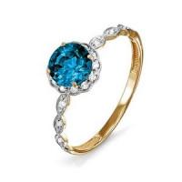 Золотое кольцо с ситалом и фианитами ДП312968