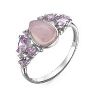 Серебряное кольцо с кварцем плавленым и фианитами