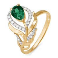 Золотое кольцо с кварцем и фианитами ДП310800