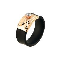 Золотое кольцо с фианитами и каучуком НР03397К