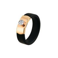Золотое кольцо с каучуком и фианитами НР03519К