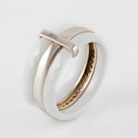Серебряное кольцо с керамикой и фианитами СЫ01СР0686а-130