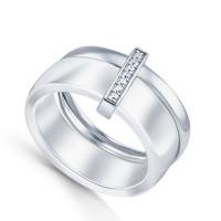 Серебряное кольцо с керамикой и фианитами СЫ01СР2078а-130