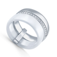 Серебряное кольцо с керамикой и фианитами СЫ01СР2077а-130