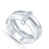 Серебряное кольцо с керамикой и фианитами СЫ01СР2069а-130