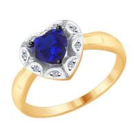 Золотое кольцо с бриллиантами и корундом ДИ6012106