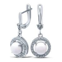 Серебряные серьги подвесные с ониксами и фианитами